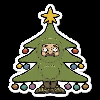 Sticker moustachu déguisé en sapin de Noël