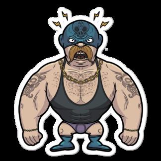 Sticker de catcheur moustachu
